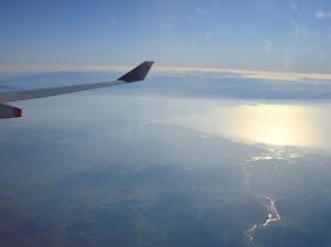 朝日に輝く有明海と佐賀平野